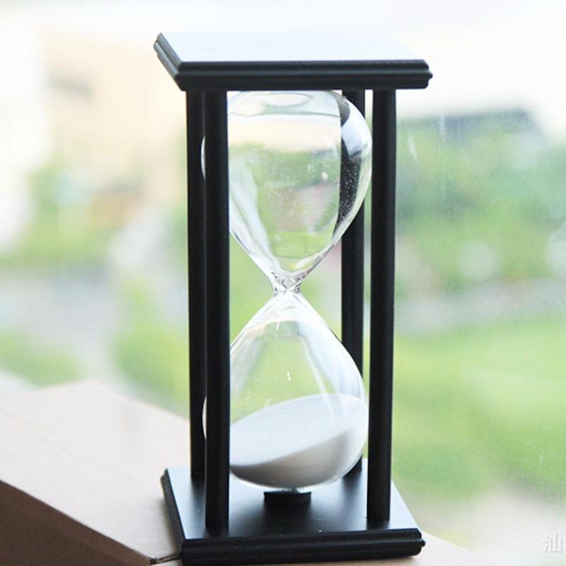 7127d0be1f9 ampulheta base madeira relógio areia branca 30 minutos. Carregando zoom.