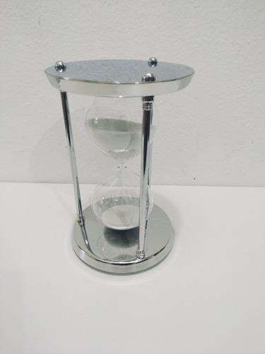 ampulheta metal 30 min grande luxo areia branca decoração