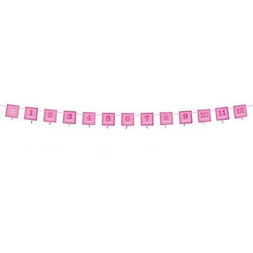 amscan 1st birthday glitter photo garland 12 pies rosa