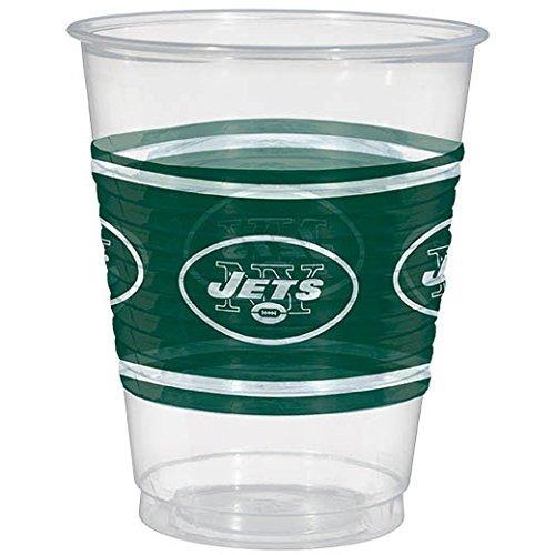 amscan new york jets copa de plástico, 16 oz.