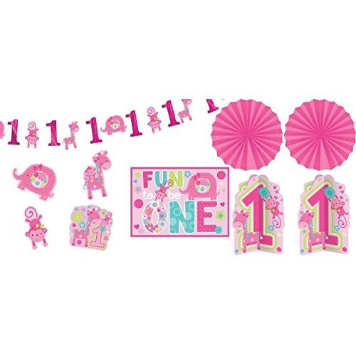 amscan one wild girl 1st birthday room kit de decoración gr