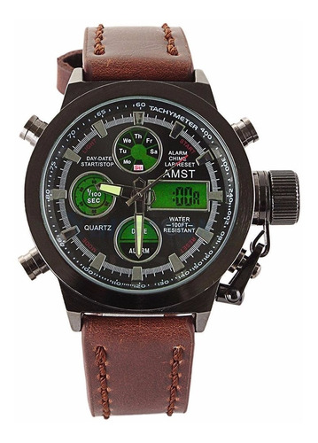 amst reloj deportivo militar led 100% cuero original premium