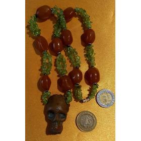 Amuleto Dije Calavera De Cobre Antiguo En Collar De Cuarzos.