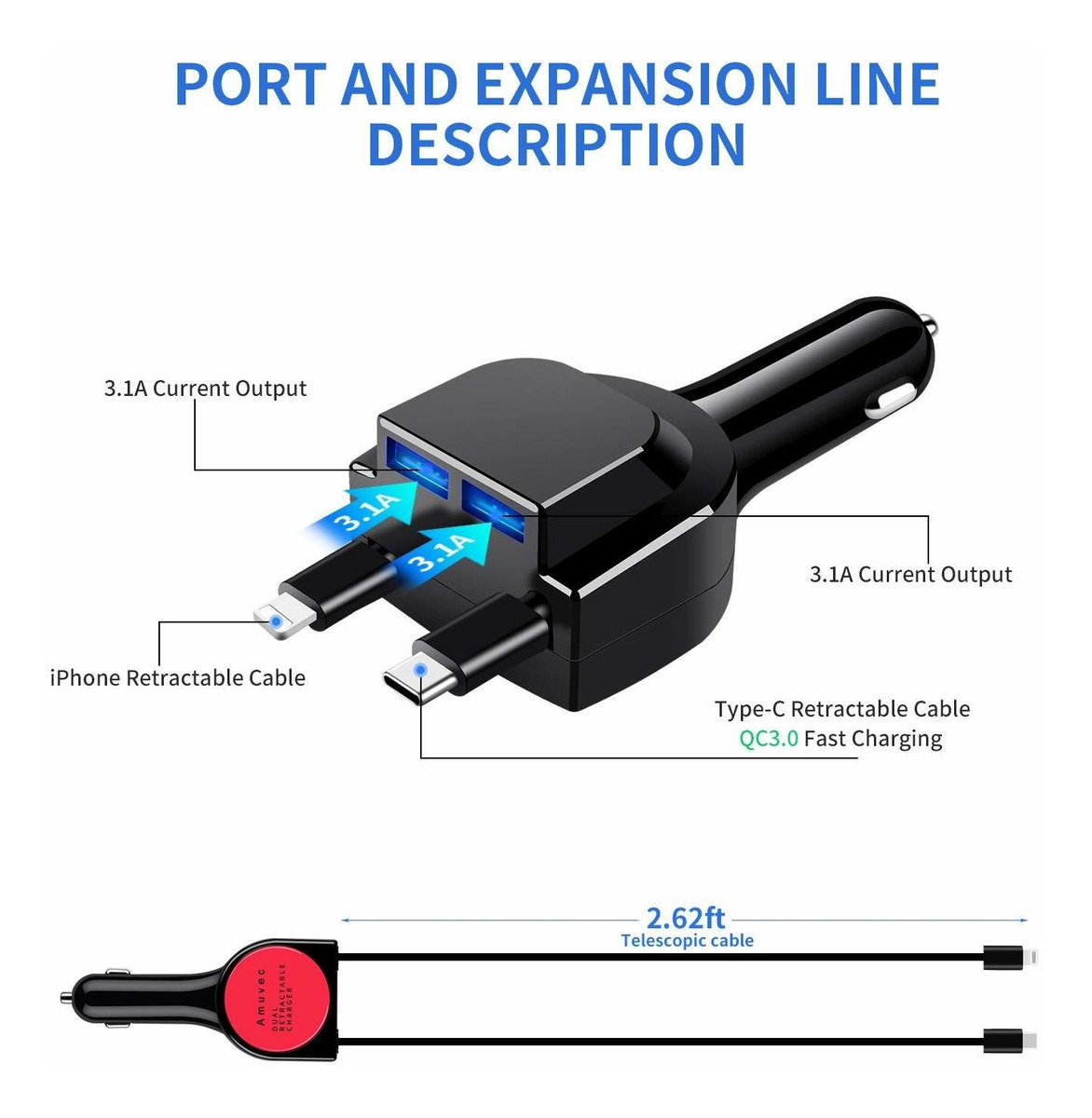 ,QC3.0 Multi Adaptador con iP/&Tipo-C Cable Retr/áctil,Carga R/ápida para Phone X 8 Samsung Galaxy S10//S9//S8,LG G5//G6,Huawei P20//Mate10,Xiaomi y M/ás Amuvec Cargador de Coche con Doble Puerto USB 6A//40W