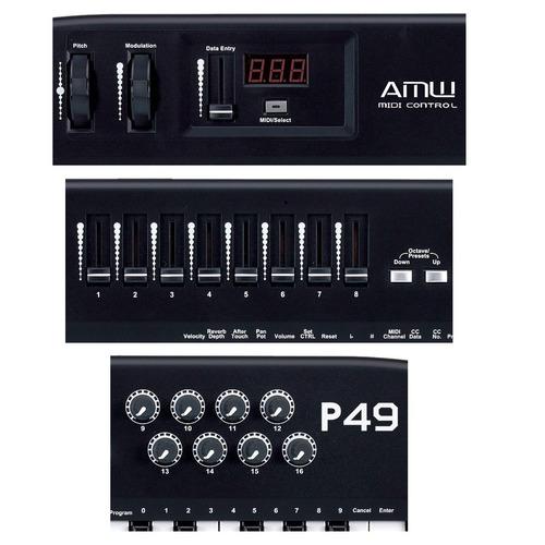 amw p49 teclado controlador midi usb 49 teclas faders knobs