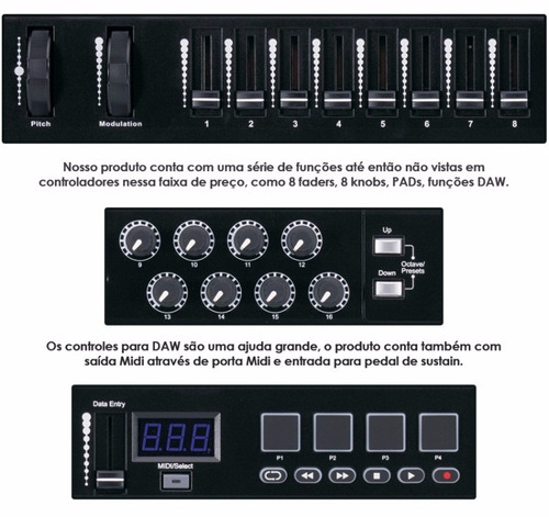 amw p61x teclado controlador midi 61 teclas pads knobs  loja