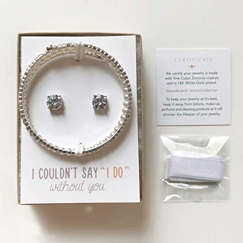 0b2294fbf Amy O Wedding Jewelry Set, Pulsera De Perlas Y Aretes Set ...