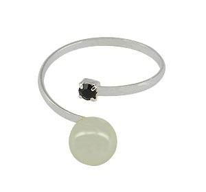 an0419 p - anel ajustável folheado a prata c/ strass preto