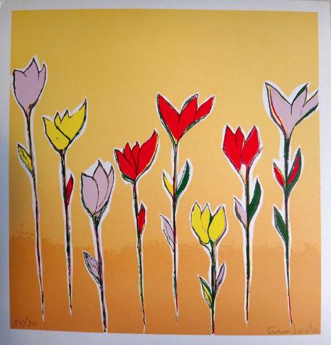 ana couto - flores coloridas - serigrafia pop art