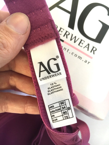ana grant ag underwear corpiño encaje malva violeta talle 90