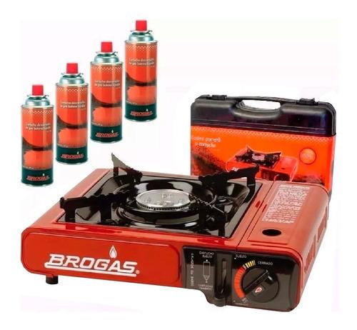 anafe cocina portatil gas butano brogas 4 cartuchos maletin