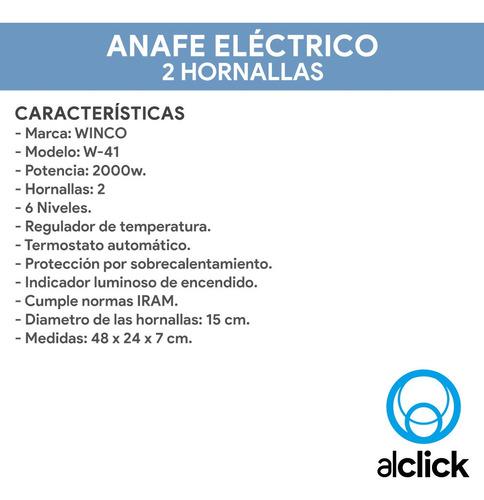 anafe eléctrico 2 hornallas 2000w cocina led bajo consumo termostato regulable luz indicador