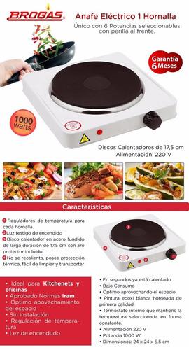 anafe electrico brogas 1 hornalla 1000w envio gratis