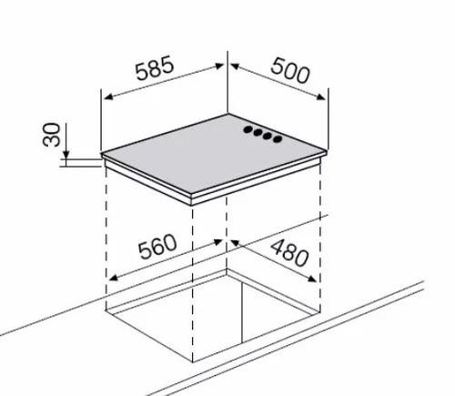 anafe electrico glem gtl 640 ix 4 zonas 59cm placas teflon