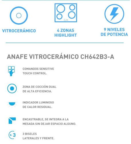 anafe vitroceramico candy ch642b3-a - 9 niveles de potencia
