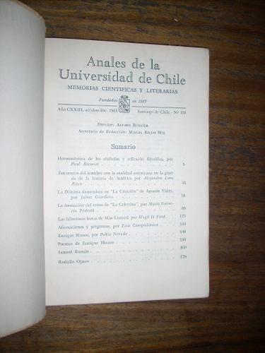 anales de la universidad de chile año cxxiii oct dic 1965
