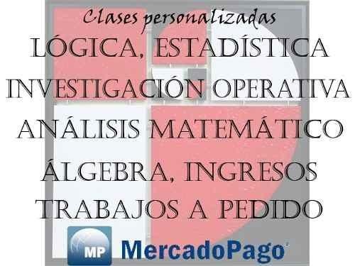 análisis matemático, estadística, álgebra, investigación op.