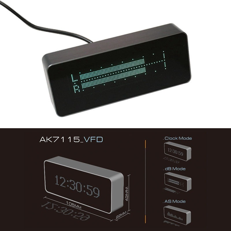 Analizador De Spectro Power Vu Meter Relogio Digital Audio