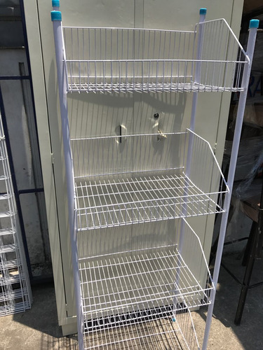 anaquel metalico alambre exhibidor de canastilla 4 niveles