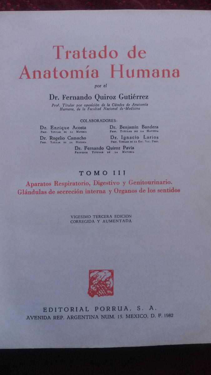 Anatomia Humana Fernando Quiroz Guitierrez - $ 320.00 en Mercado Libre