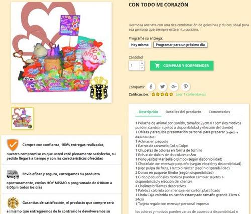 ancheta con dulces, peluche y globo a domicilio en bogotá