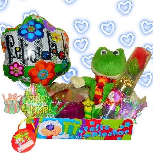 ancheta con torta, peluche y chocolates de cumpleaños bogotá