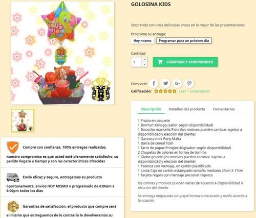 ancheta sorpresa para niños, con golosinas, globos, peluches