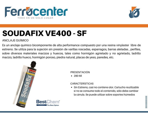 anclaje químico soudafix ve400-sf alta performance 280 ml