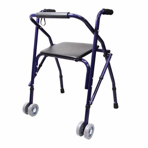 andadera adulto rollator sencilla, color azul, plegable