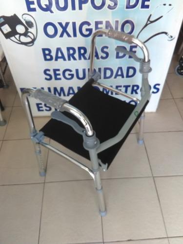 andadera con asiento aluminio plegable altura ajustable