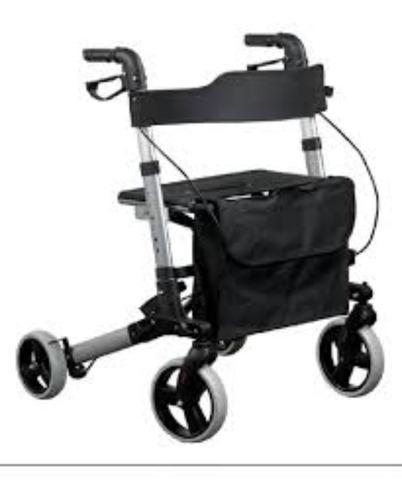 andador 4 rodas em alumínio dobrável com banco e cesto mobil