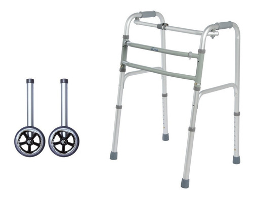 andador aluminio plegable ortopédico silfab + ruedas a3015