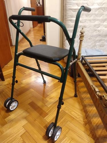 andador alumino, plegable y asiento rebatible