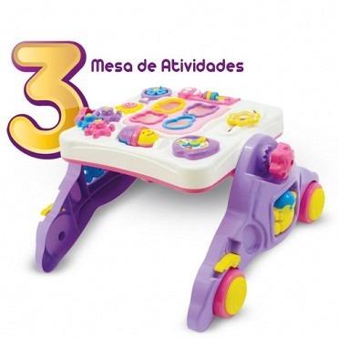 andador e mesa atividade didático musical educativo 4 em 1
