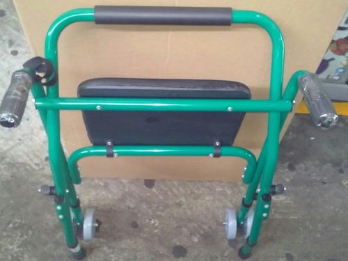 andador ortopédico con asiento y ruedas-graduable-liviano