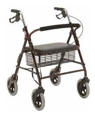 andador plegable con asiento, canasto y frenos reforzado 160