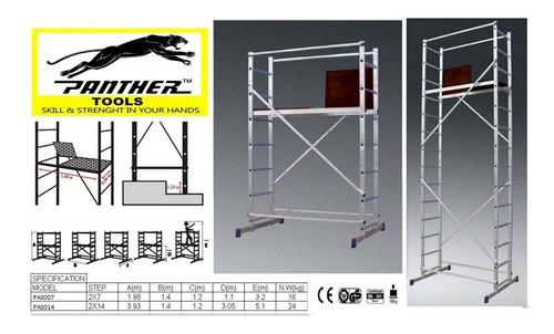 andamio de aluminio 7 escalones altura 3,2m panther pas007