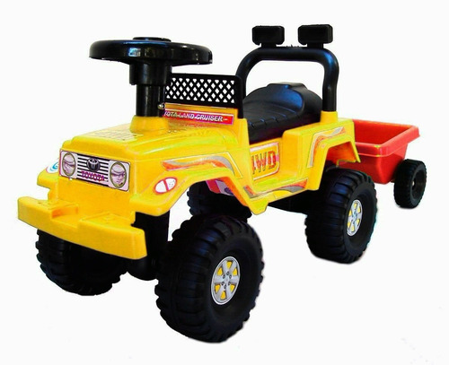 andarin caminador jeep con trailer porta juguetes pata pata