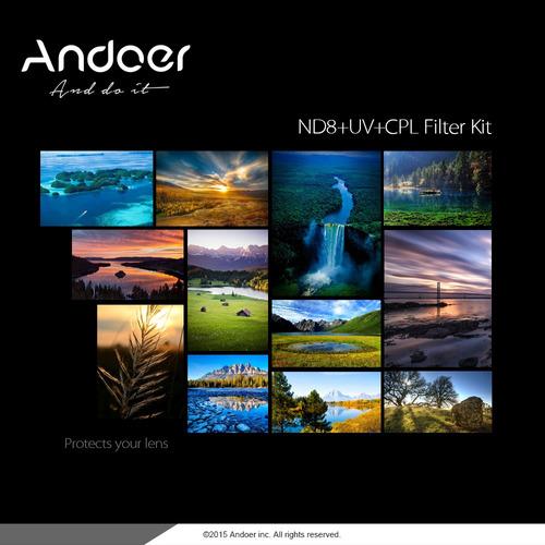 andoer 72mm uv + cpl + nd8 circular filtro circular estojo