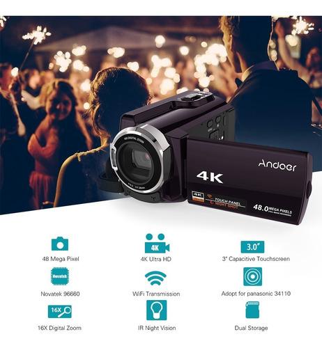 andoer hdv-534k 4k 48mp wifi cmara de vdeo digital con