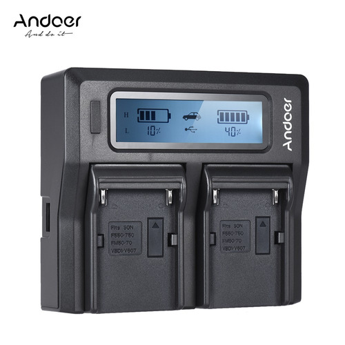 andoer np-f970 dual channel digital camera battery charger