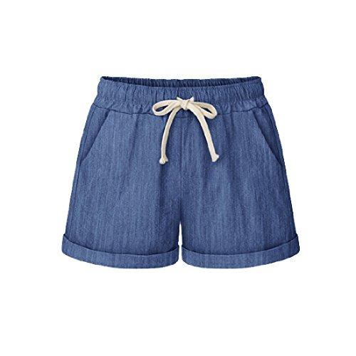 color de para mujer p algodón andopa pantalones de cortos cPqWC0g