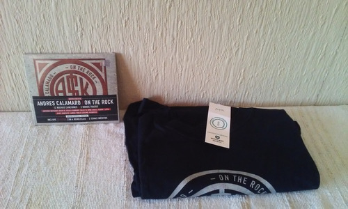andres calamaro - lote cd on the rock+ remera talle s oferta