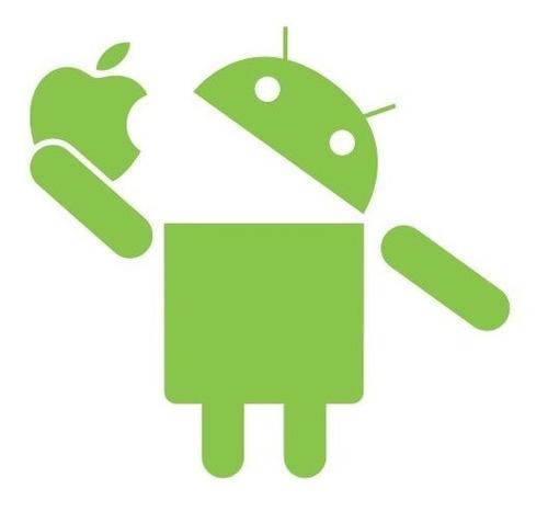 android comendo apple - 6 adesivos - hm-000001