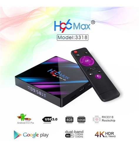 android smart tv android 9.0 tv box 4k 4gb ram 32gb rom h96