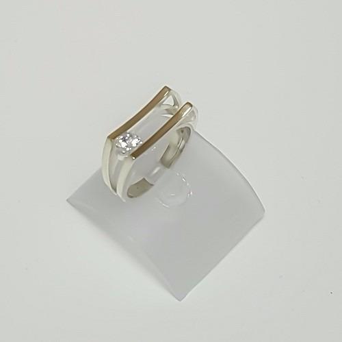 anel 2 elos zircônia prata lei 925 com ouro feminino