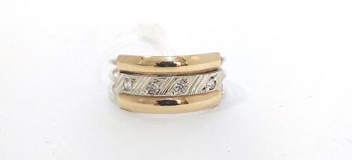 anel 3 elos prata filetes de ouro estilo aliança aro triplo