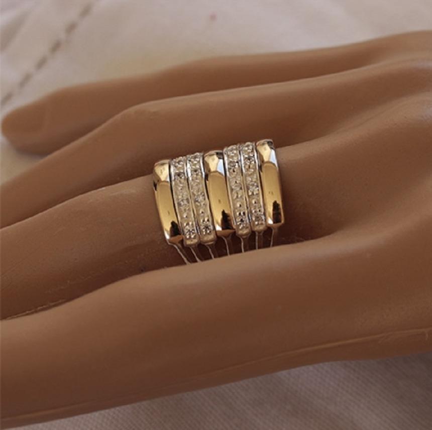 7029e673241aa anel 7 elos em prata 950 e ouro maciço zircônia promoção. Carregando zoom.