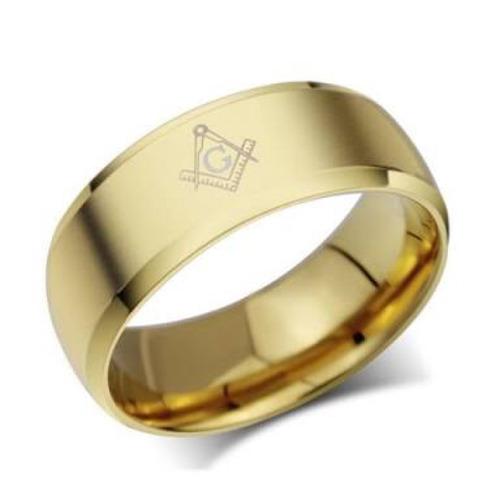 anel 8mm em tungstênio dourado - maçonaria