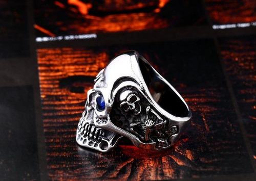anel aço caveira